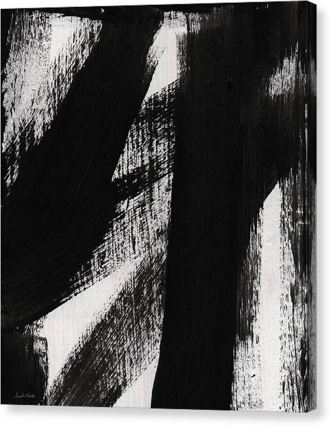 Graffiti Walls Canvas Print - Timber- Vertical Abstract Black And White Painting by Linda Woods
