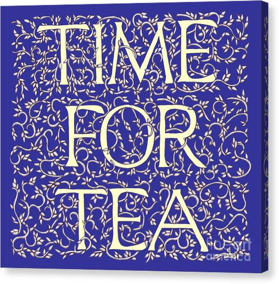 Time For Tea Royal Blue Canvas Print