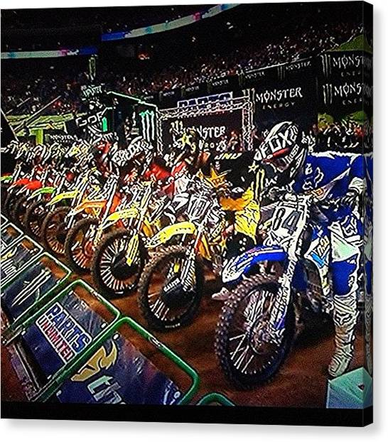 Yamaha Canvas Print - Time For The 450 Main.. #supercross by Jim Neeley