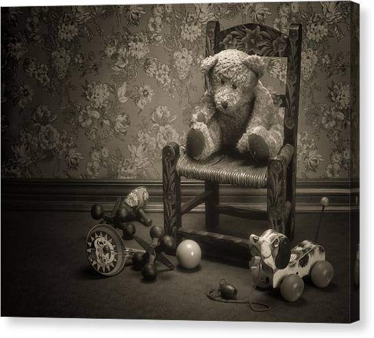 Black Top Canvas Print - Time Out - A Teddy Bear Still Life by Tom Mc Nemar