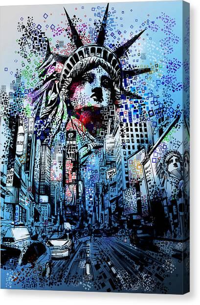 Statue Portrait Canvas Print - Times Square 2 by Bekim Art