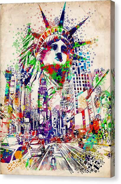 Statue Portrait Canvas Print - Times Square 3 by Bekim Art