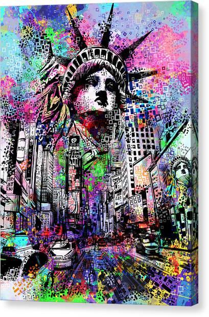 Statue Portrait Canvas Print - Times Square by Bekim Art