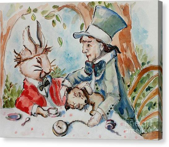 March Hare Canvas Print - Time The Mad Tea Party 2 by Carrie Joy Byrnes