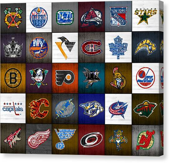 Vancouver Canucks Canvas Print - Time To Lace Up The Skates Recycled Vintage Hockey League Team Logos License Plate Art by Design Turnpike