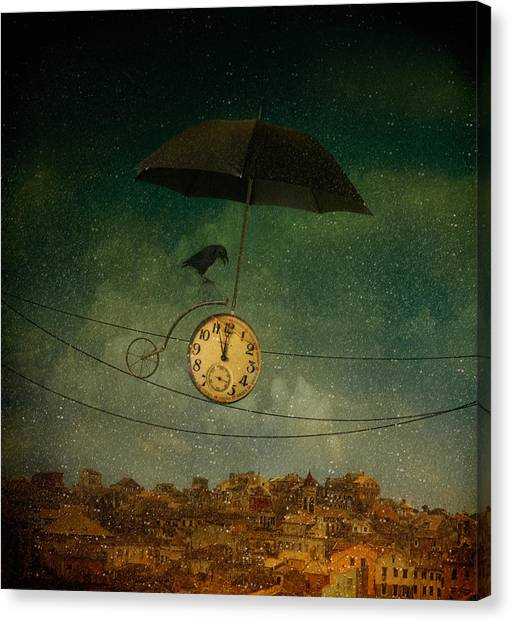 Crows Canvas Print - Timekeeper by Svetlana Melik-nubarova
