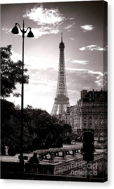 Streetlights Canvas Print - Timeless Eiffel Tower by Olivier Le Queinec