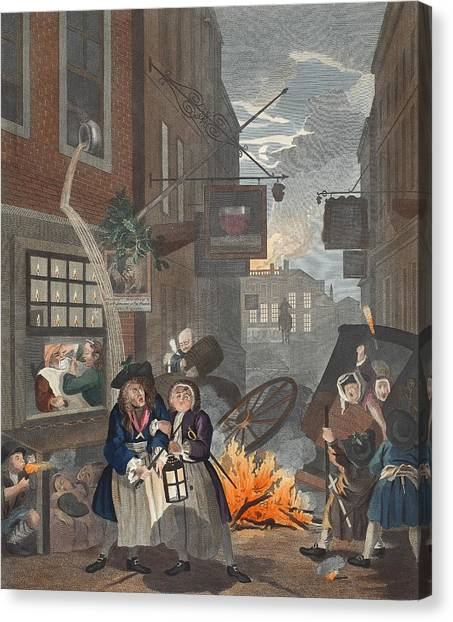 Chamber Pot Canvas Print - Times Of Day, Night, Illustration by William Hogarth