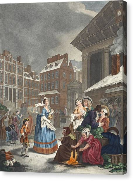 Garden Scene Canvas Print - Times Of The Day Morning, Illustration by William Hogarth