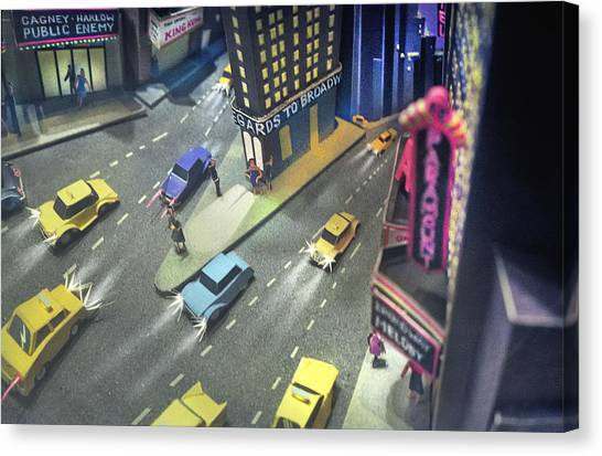 Canvas Print - Times Sq. At Night by Ron Morecraft