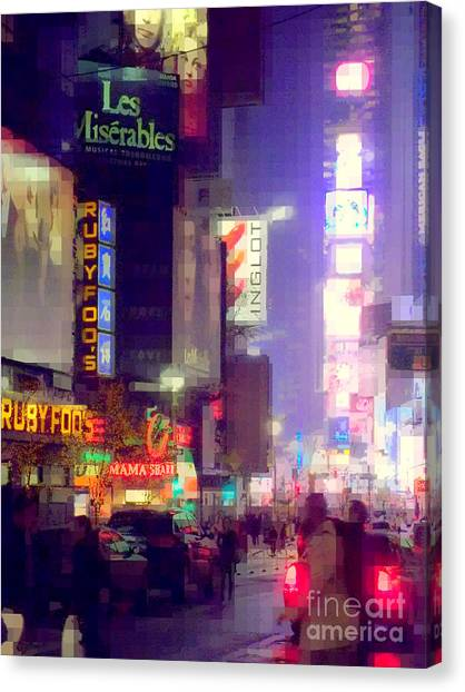 Times Square At Night - Columns Of Light Canvas Print