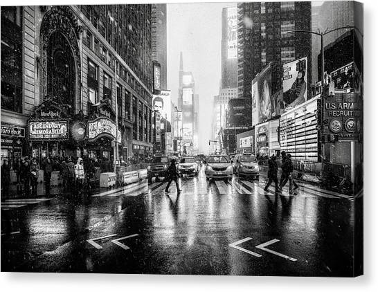 Times Square Canvas Print by Jorge Ruiz Dueso