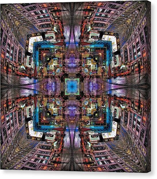 Times Square Canvas Print - Times Square Mirrored Reflections by Susan Candelario