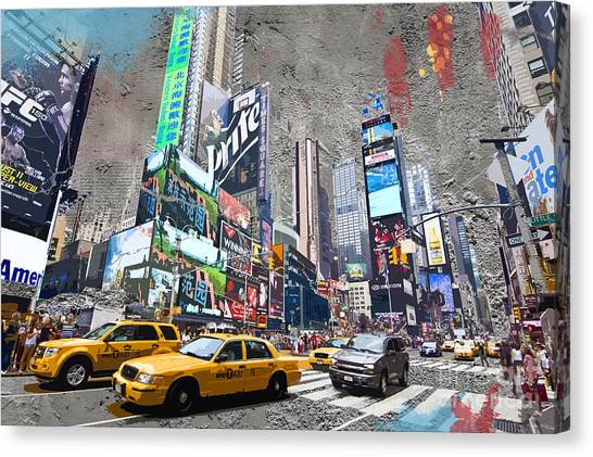 New York City Taxi Canvas Print - Times Square Street Creation by Delphimages Photo Creations