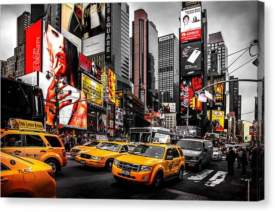 Empire State Building Canvas Print - Times Square Taxis by Az Jackson