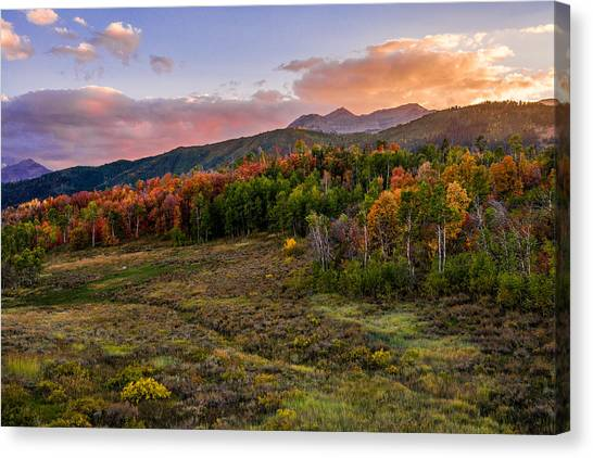 Mountain Sunset Canvas Print - Timp Fall Glow by Chad Dutson