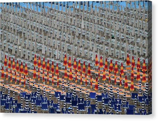 Beach Umbrellas Canvas Print - Tin Soldiers by Hans-wolfgang Hawerkamp