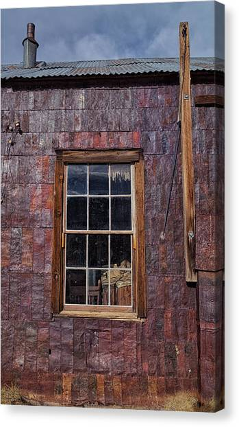 Bishop Hill Canvas Print - Tin Can Architecture At Bodie by Kathleen Bishop