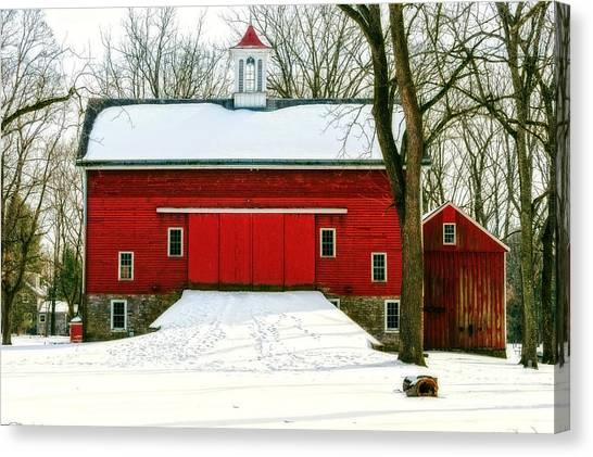 Tinicum Barn In Winter II Canvas Print