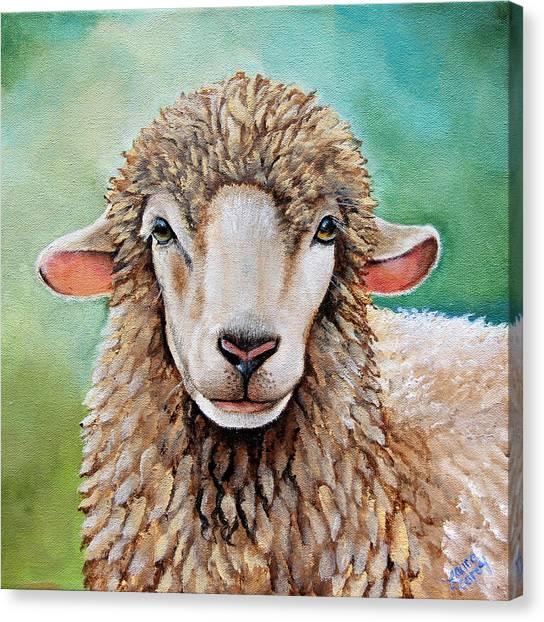 Ewe Canvas Print - Tinsel by Laura Carey