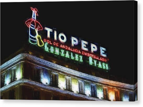 Real Madrid Canvas Print - Tio Pepe Sign Madrid by Joan Carroll