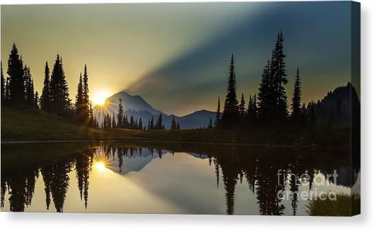 Mount Rainier Canvas Print - Tipsoo Rainier Sunstar by Mike Reid