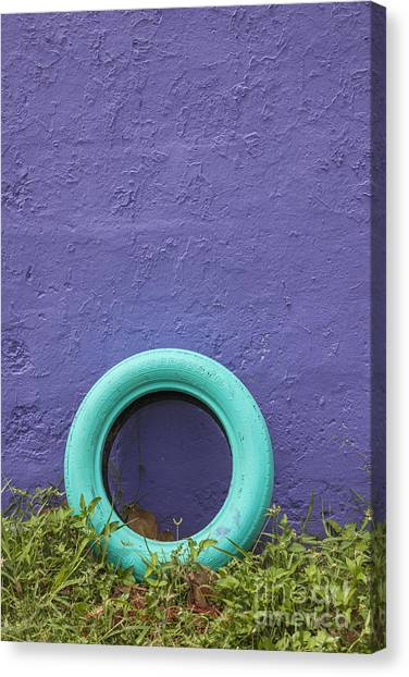 Canvas Print featuring the photograph Tire Painted In Bright Color Leaning Against Wall In San Juan Pue by Bryan Mullennix