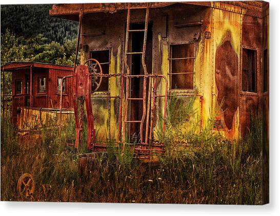Old Caboose Canvas Print - Tired Caboose by Mary Jo Allen