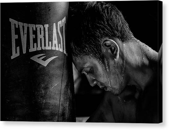 Boxing Canvas Print - ...tired... by Rudolf Wungkana