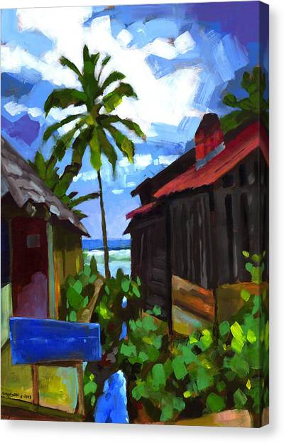 Coconut Canvas Print - Tiririca Beach Shacks by Douglas Simonson