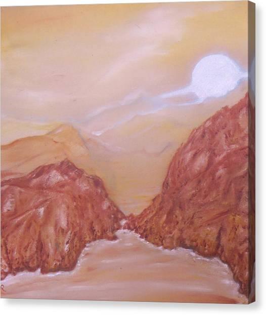 Titan -saturn Vi Midnight By A Methane Lake Canvas Print by Nicla Rossini