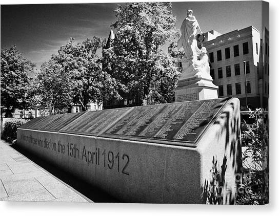 Titanic belfast canvas print titanic memorial garden with the names of the victims in the