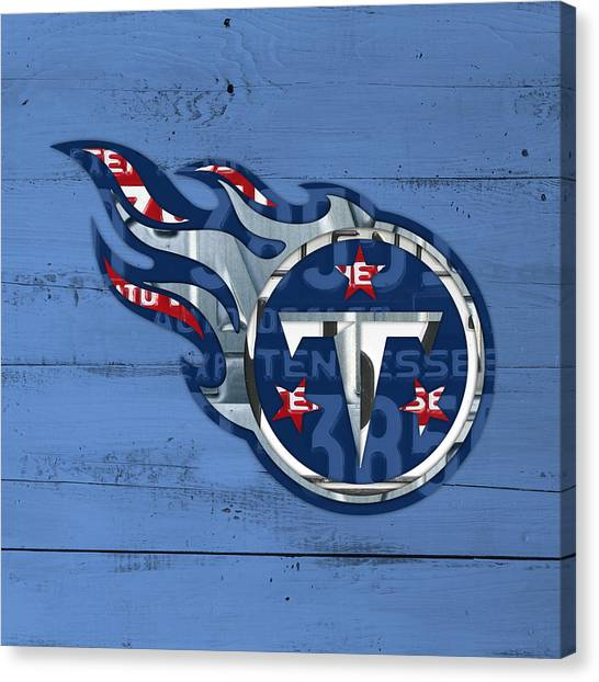 Tennessee Titans Canvas Print - Titans Football Team Retro Logo Recycled Tennessee License Plate Art by Design Turnpike