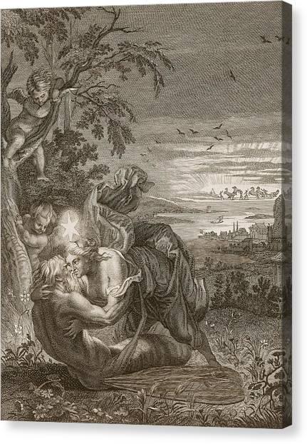 Grasshoppers Canvas Print - Tithonus, Auroras Husband, Turned Into A Grasshopper by Bernard Picart