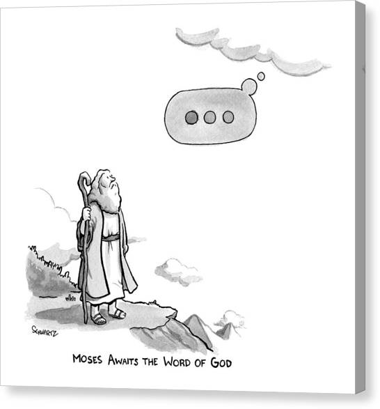 God Canvas Print - Title: Moses Awaits The Word Of God Moses Looks by Benjamin Schwartz
