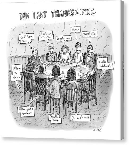 Vegetarian Canvas Print - The Last Thanksgiving by Roz Chast
