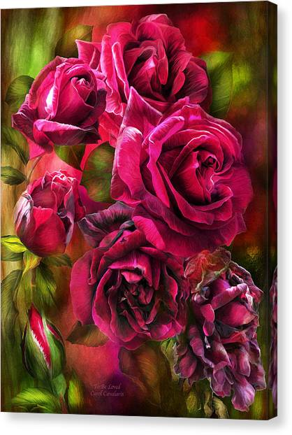 Canvas Print featuring the mixed media To Be Loved - Red Rose by Carol Cavalaris
