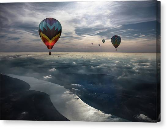 Hot Air Balloons Canvas Print - To Kiss The Sky by Heather Bonadio
