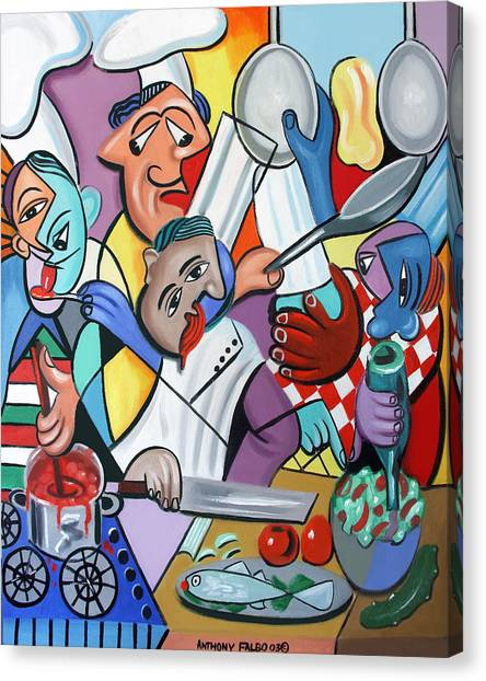 Salad Canvas Print - To Many Cooks In The Kitchen by Anthony Falbo