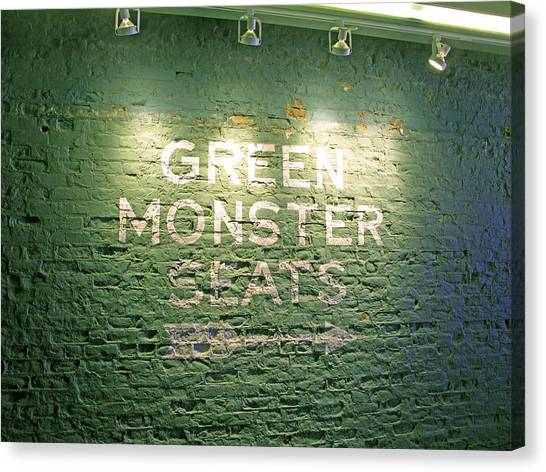 Boston Red Sox Canvas Print - To The Green Monster Seats by Barbara McDevitt
