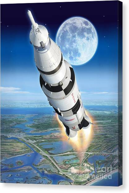 Launch Canvas Print - To The Moon Apollo 11 by Stu Shepherd