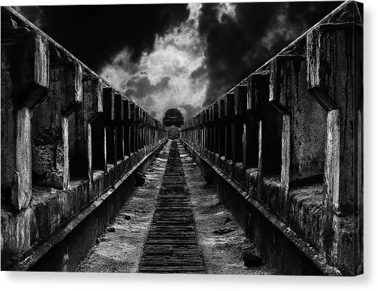 Tunnels Canvas Print - To The Train by Mladjan Pajkic -