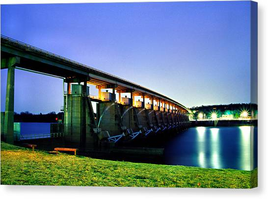 Toad Suck Dam At Night Canvas Print