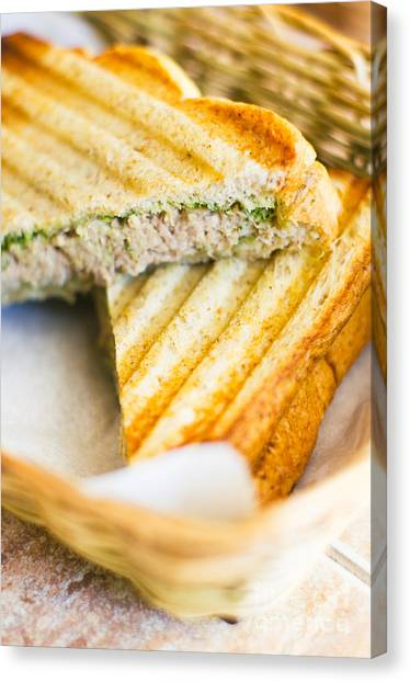 Mayonnaise Canvas Print - Toasted Tuna Sandwiches For American Breakfast by Tuimages