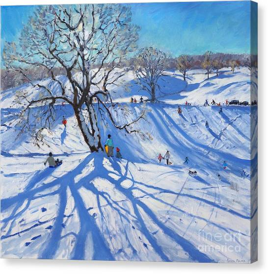 Peak District Canvas Print - Tobogganers  Chatsworth by Andrew Macara