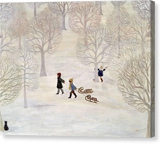 Snowball Canvas Print - Tobogganing by Ditz