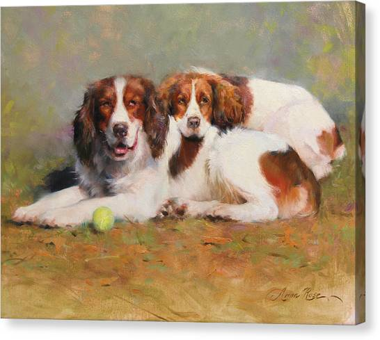 Tennis Canvas Print - Toby And Ellie Mae by Anna Rose Bain