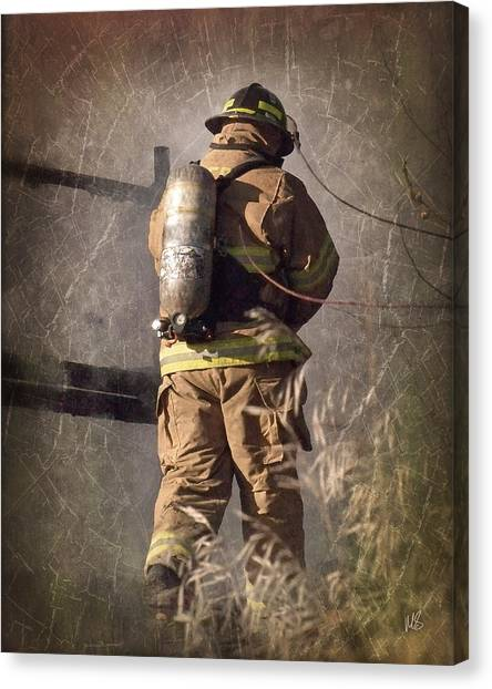 Volunteer Firefighter Canvas Print - Today He Will Fight by Melissa Smith