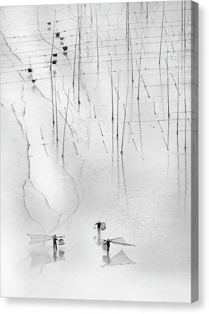 Fishing Poles Canvas Print - Together by Angela Muliani Hartojo
