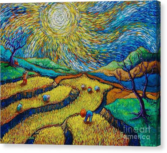Culture Canvas Print - Toil Today Dream Tonight Diptych Painting Number 1 After Van Gogh by Paul Hilario